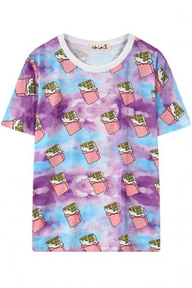 Мультфильм Мороженое Печать Шею С Коротким Рукавом T-Рубашка