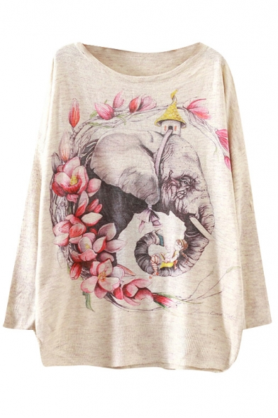 Floral Elephant Print Scoop Neck Long Sleeve Sweater