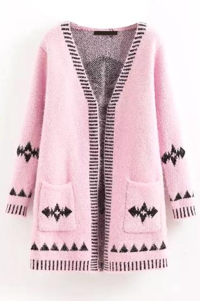 Geometric Pattern V-Neck Long Sleeve Open Front Cardigan