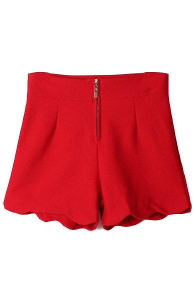 Plain Zipper Fly Wave Hem Shorts