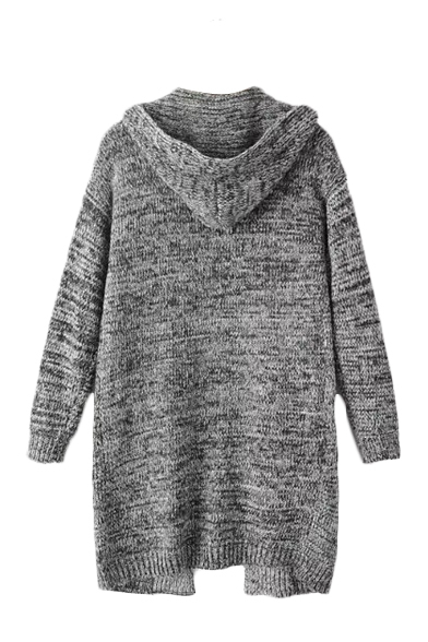 Gray Hooded Long Sleeve Double Pocket Open Front Cardigan