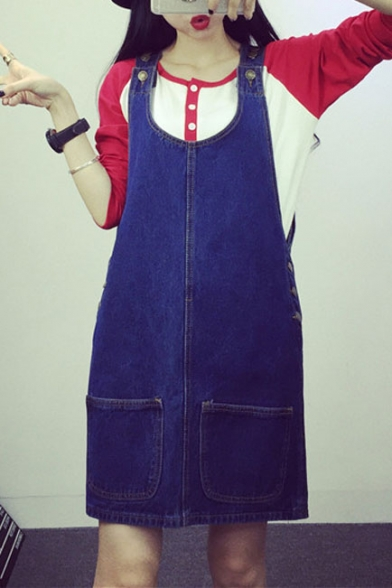 Blue Button Double Pocket Denim Overall Dress