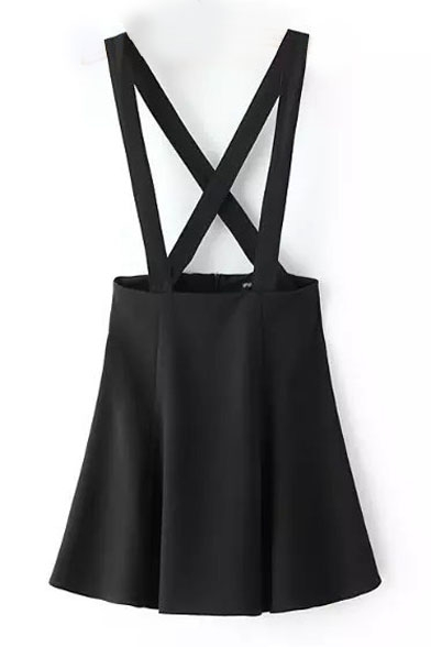 Plain Cross Back Zip Back Over All Skirt