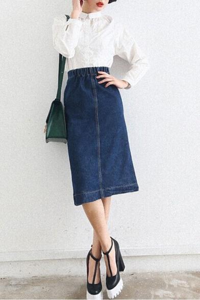 Plain Elastic Waist Slit Back Denim Midi A-Line Skirt