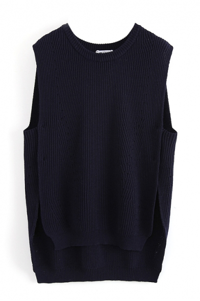Plain Round Neck Sleeveless High Low Button Side Sweater