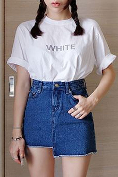 Plain Zip Fly Asymmetric Hem Denim Mini Skirt