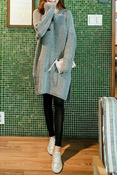 Gray Round Neck Long Sleeve Split Side Longline Sweater