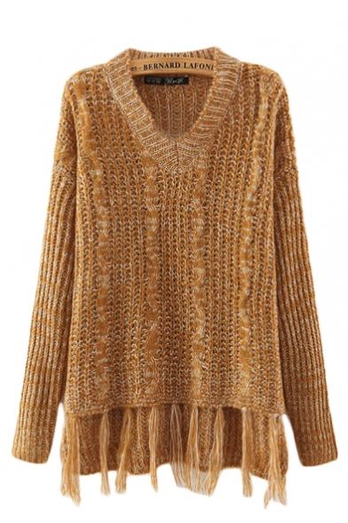 V-Neck Long Sleeve Plain Tassel Hem Knit Sweater