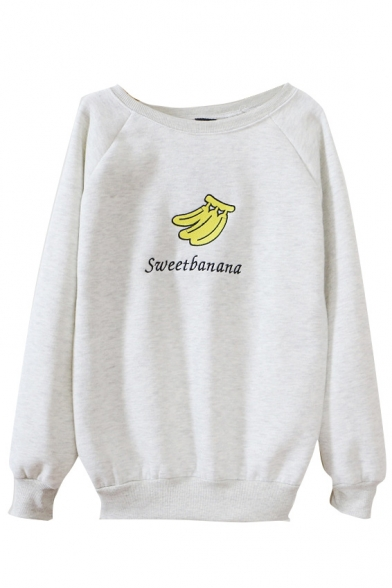 Banana Print Round Neck Long Sleeve Sweatshirt