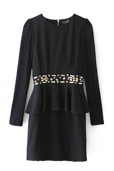 Black Round Neck Beaded Waist Long Sleeve Zip Back Dress