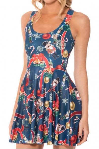 Christmas Bell Print Tank Skater Dress