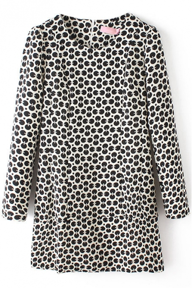 Geometric Print Color Block Long Sleeve Round Neck Shift Dress