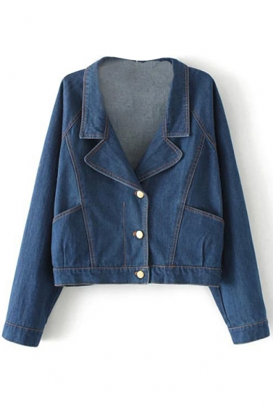 Lapel Blue Single-Breasted Long Sleeve Double Pocket Denim Jacket