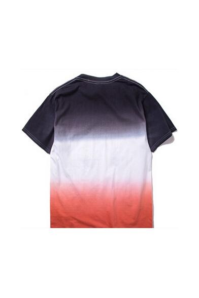 Short Ombre Neck Geometric Shirt T Sleeve Round Print vwa7IxwqZ