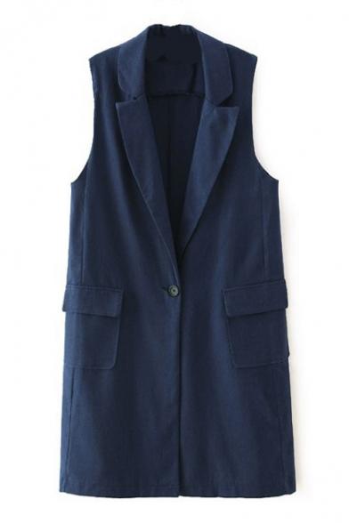 Plain Lapel Sleeveless Double Pocket Single Button Vest
