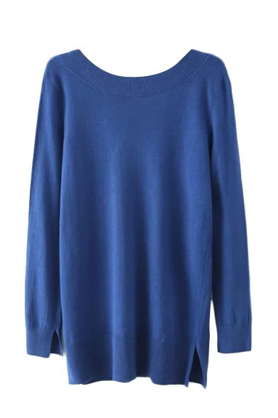 Plain Round Neck Long Sleeve V Back Split Hem Sweater