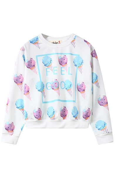 Ice-Cream Print Round Neck Long Sleeve Cropped Sweatshirt