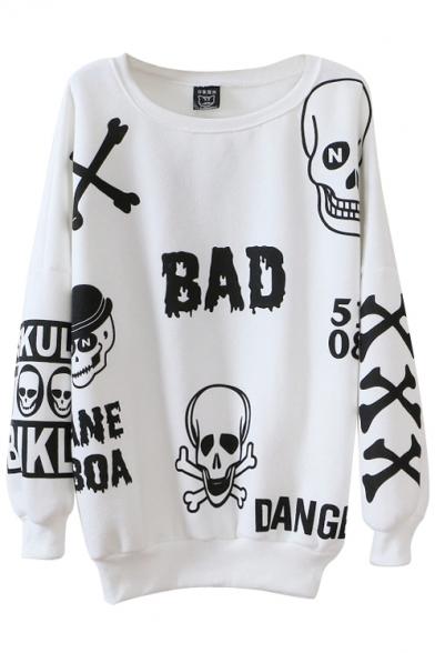 Skull Print Round Neck Long Sleeve Sweatshirt