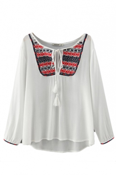 Tribal Embroider Round Neck Tie Front High Low Long Sleeve Shirt