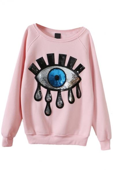 Eye Beaded Embroidery Scoop Neck Long Sleeve Sweatshirt