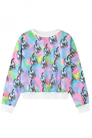 Milk Box Print White Hem Long Sleeve Crop Sweatshirt