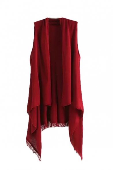 Plain Asymmetrical Hem Open Front Sleeveless Knit Cardigan