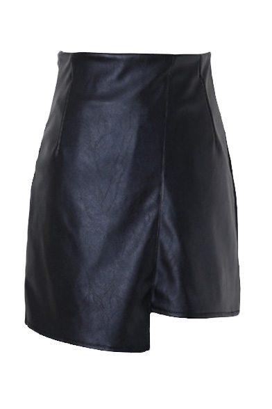 Plain Zip Side Asymmetrical Hem Mini Wrap Skirt