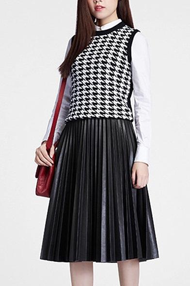 5cb60004ef Black PU Pleated Zipper Side Midi Skirt - Beautifulhalo.com