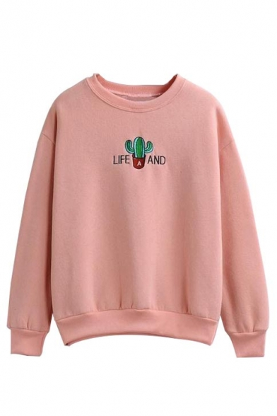 reviews for cactus embroidery round neck long sleeve sweatshirt hoodies sweatshirts reviews. Black Bedroom Furniture Sets. Home Design Ideas