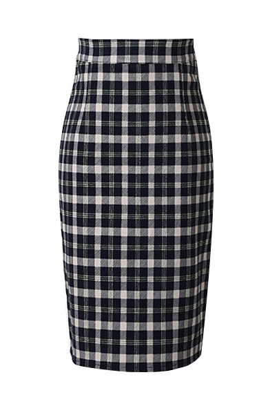 Classic Plaid Zipper Back Pencil Skirt
