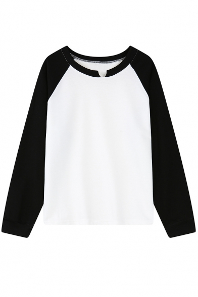 Color Block Round Slit Neck Long Sleeve Sweatshirt