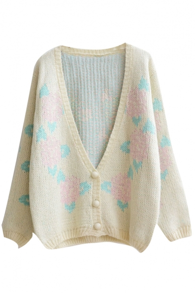 Floral Pattern V-Neck Single Breasted Long Sleeve Cardigan