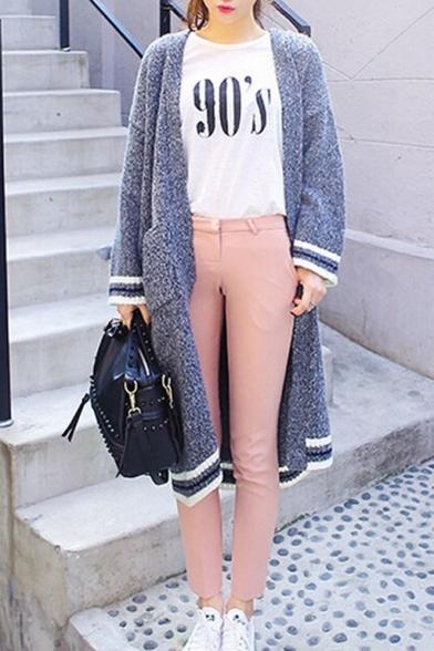 Gray Heathered Long Sleeve Double Pocket Longline Woolen Cardigan