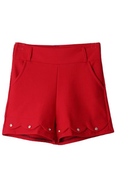Plain High Waist Elastic Button Detail Wide Leg Shorts