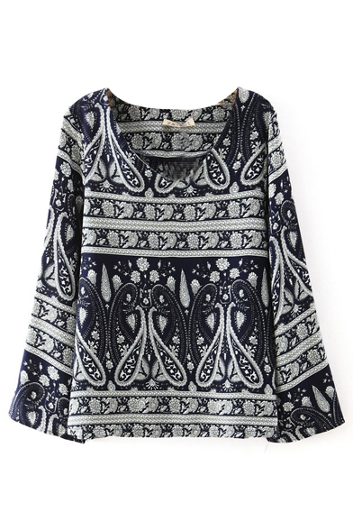Tribal Pattern V-Neck Long Sleeve Pullover Shirt