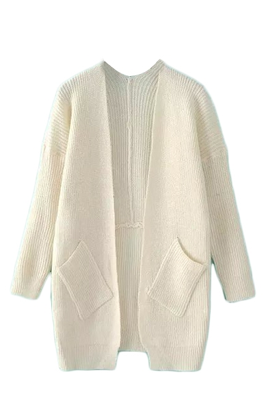 Open Front Plain V-Neck Long Sleeve Pockets Knit Cardigan