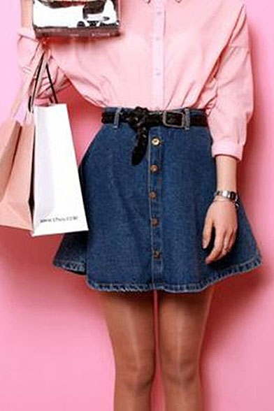 Plain Button Fly Denim Flared Skirt