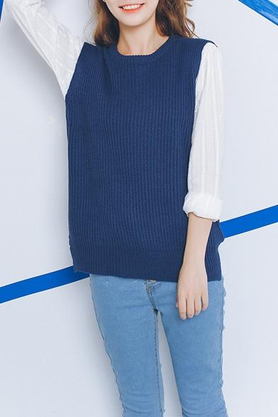 Plain Round Neck Sleeveless High Low Split Hem Sweater
