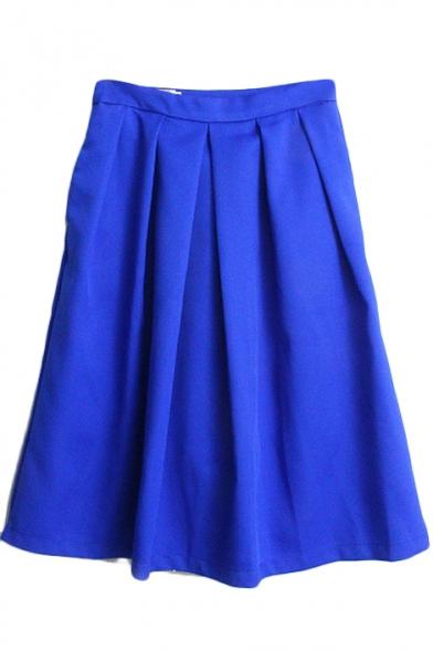 Plain Zip Side Pleated Flared Midi Skirt