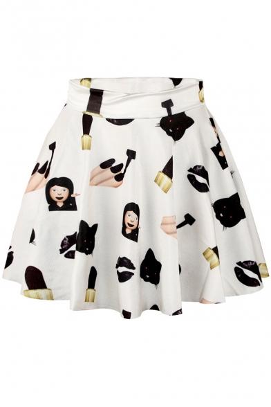White Emoji Print Elastic Waist Mini Flared Skirt