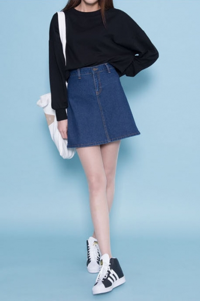 Plain Zip Fly Denim Mini A-Line Skirt