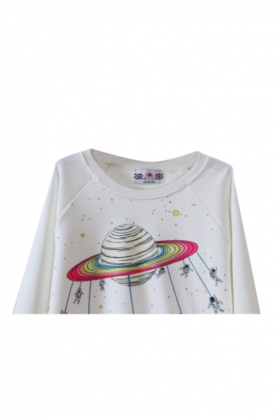 Round Astronauts Print Cartoon Planet Long Neck Sweatshirt Sleeve and w1qwnFSf