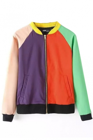 color block stand collar zipper double pocket long sleeve bomber