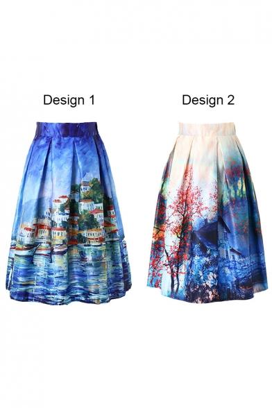 Landscape Print Elastic Waist Flared Midi Skirt