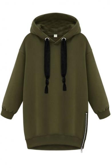 Letter Print Hooded Drawstring Long Sleeve Zipper Side Sweatshirt