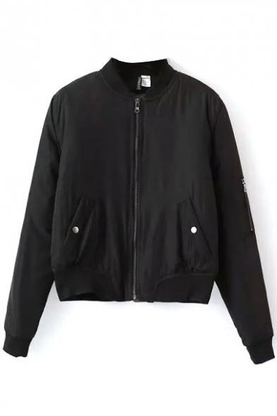 Cotton Jacket Padded Sleeve Collar Plain Zipper Stand Long CzUHpwpq