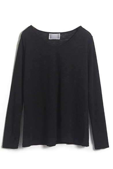 V-Neck Long Sleeve Plain Tee