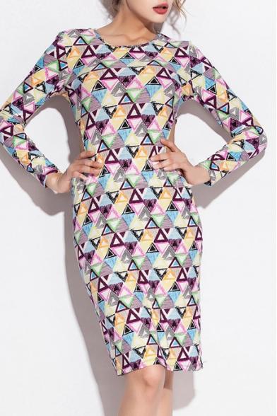 Colorful Geometric Print Round Neck Long Sleeve Bodycon Dress