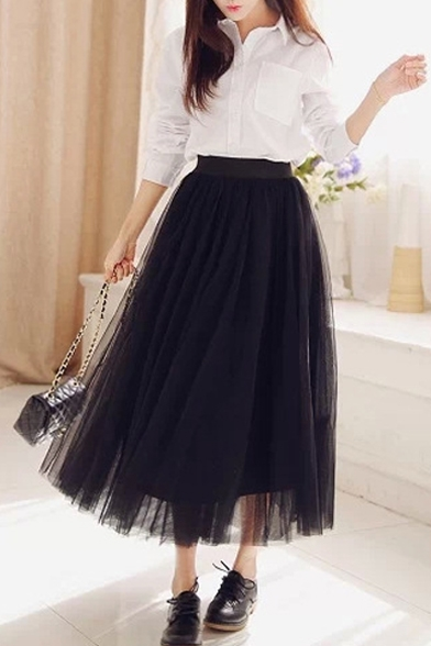 Plain Elastic Waist Layered Tulle Maxi Skirt