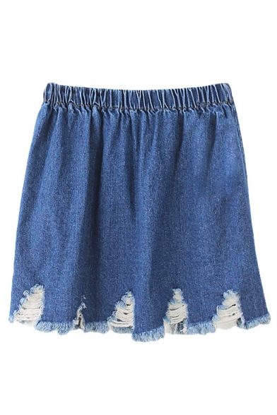 Plain Elastic Waist Ripped Hem Denim Mini A-Line Skirt